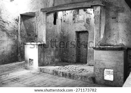 Ancient monastery kitchens. Black and white photo - stock photo