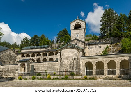 Ancient Monastery of the Nativity of the Blessed Virgin Mary in Cetinje, Popular touristic spot in Montenegro.