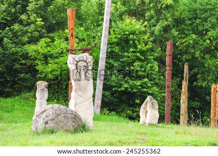 """Ancient monuments in the historical and cultural reserve """"Tustan"""". Ukraine  - stock photo"""