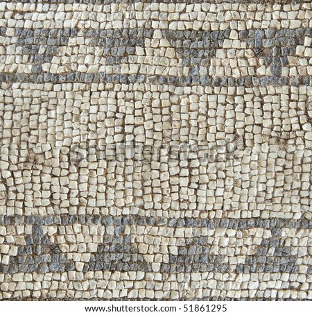 Ancient mosaic detail, roman style background - stock photo