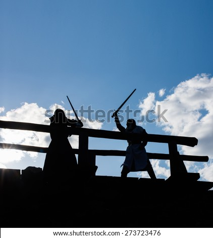 Ancient mystic knights silhouettes battle - stock photo