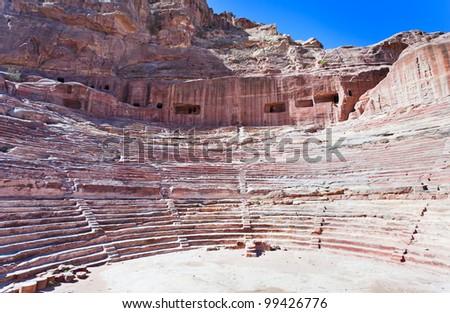 Ancient Nabatean Theater in Petra, Jordan - stock photo