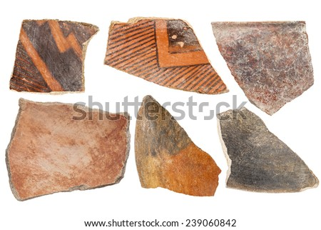 ancient Native American Indian (Anasazi) artifacts, six pottery shards  isolated on white - stock photo