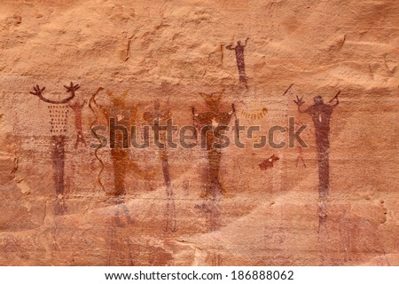 Ancient native American pictographs in the Utah desert, USA. - stock photo