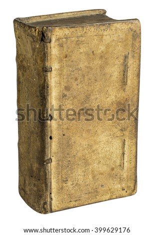 Ancient old book bound in leather isolated on white background, front view - stock photo
