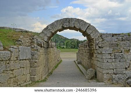 ancient olympia stadium entrance - stock photo