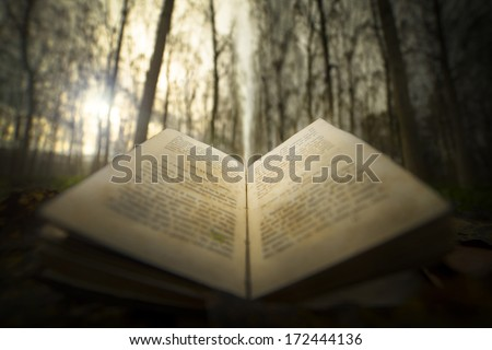 ancient open book with magic light - stock photo