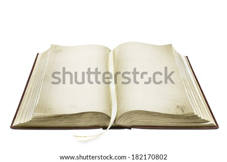 ancient opened book isolated on white