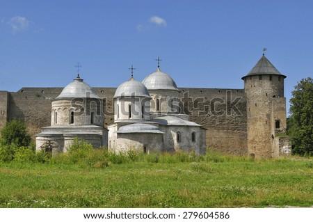 Ancient Orthodox churches Ivangorod fortress - stock photo