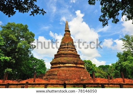 Ancient Pagoda in ancient city of Kampaengpet, Thailand.