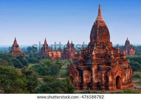 Ancient pagoda in Bagan archaeological zone, Myanmar. Bagan's prosperous economy built over 10000 temples between the 11th and 13th centuries.