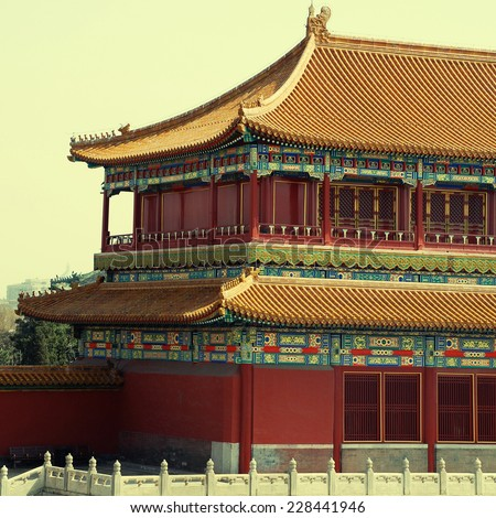 ancient pagoda in Forbidden City, Beijing, China. square toned image - stock photo