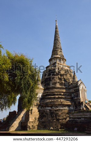 ancient pagoda in temple, Ayutthaya, central of Thailand, World Heritage, blue sky, blue