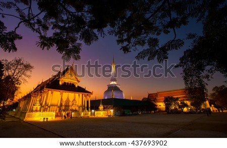 Ancient Pagoda in Wat Mahathat temple in twilight, Nakhon Si Thammarat - stock photo