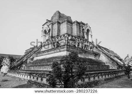 Ancient pagoda of Chediluang Varaviharn temple, Thailand. - stock photo