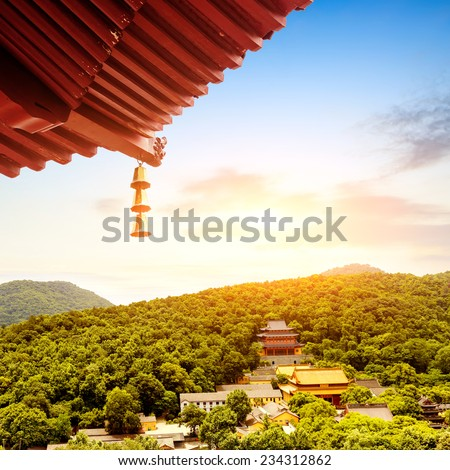 Ancient pagoda temple in Hangzhou high shot - stock photo