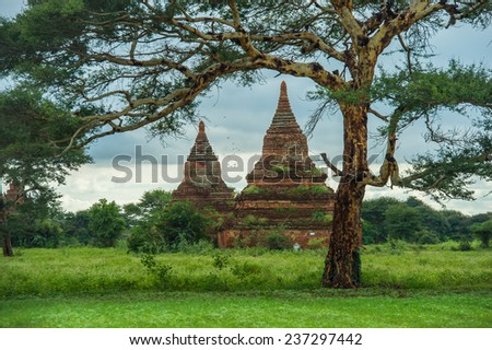 Ancient pagodas in Bagan Mandalay Myanmar - stock photo