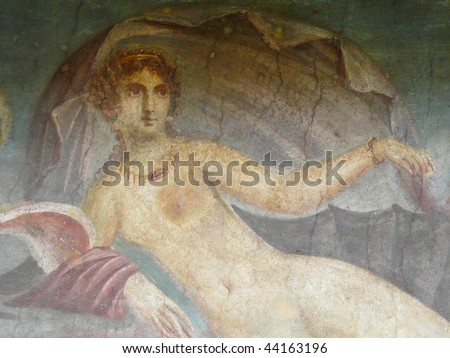 Ancient painted wall fresco of Venus at the ancient Roman city of Pompeii, which was destroyed and buried by ash during the eruption of Mount Vesuvius in 79 AD - stock photo