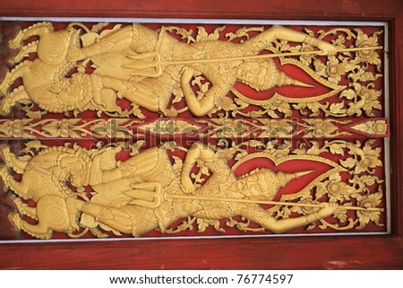 ancient painting art on the thai temple door & Traditional Thai Style Church Door Art Stock Photo 61243654 ...