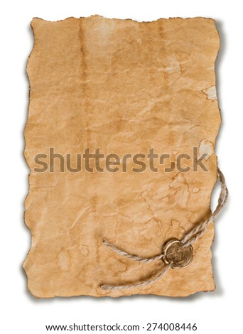 Ancient parchment with golden wax seal isolated on white background. - stock photo