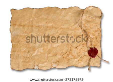 Ancient parchment with red wax seal isolated on white background. - stock photo