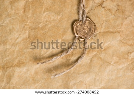 Ancient parchment with   wax seal  - stock photo