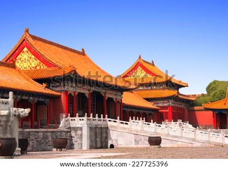 Ancient pavilions in Forbidden City, Beijing, China - stock photo