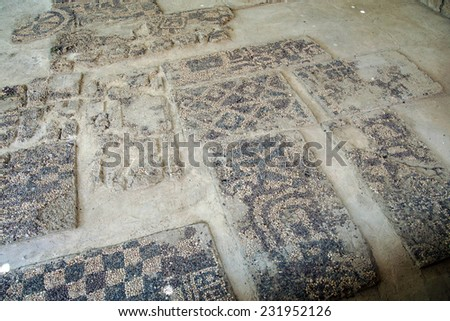 Ancient pebbled floor mosaic found near  tomb of King Midas of Phrygia,Gordium, Turkey