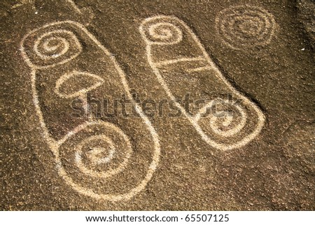 Ancient Petroglphys of Palma Sola dating back more than 2,500 years - stock photo