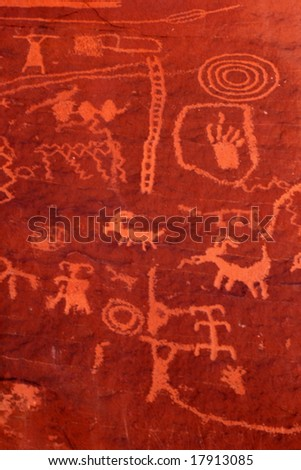 Ancient petroglyphs in Valley of Fire, Nevada - stock photo