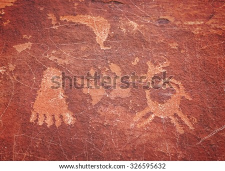 Ancient petroglyphs in Valley of Fire State Park, Nevada, USA. - stock photo