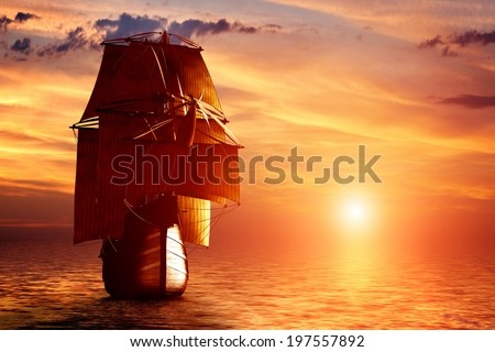 Ancient pirate ship sailing on the ocean at sunset. In full sail. - stock photo