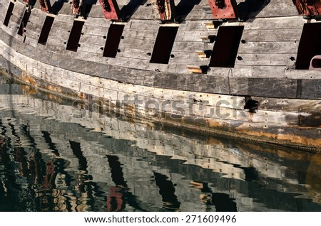 ancient pirate ship with cannons - stock photo
