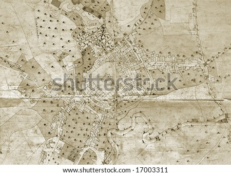 Ancient plan of town - stock photo