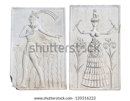Ancient plaque from Knossos palace at Crete, Greece. - stock photo