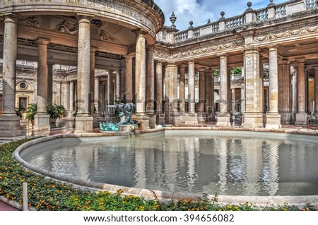 ancient pool in Montecatini Terme, Tuscany - stock photo
