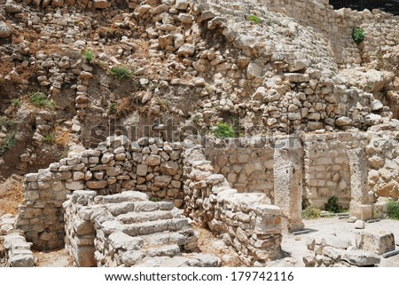 Ancient Pool of Bethesda ruins in Old City of Jerusalem, Israel - stock photo