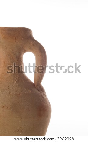 Ancient pottery which was the most common method of transporting goods such as wine in ancient times. Isolated on white. - stock photo