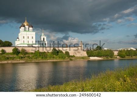 Ancient Pskov Kremlin on Velikaya river, Russia - stock photo