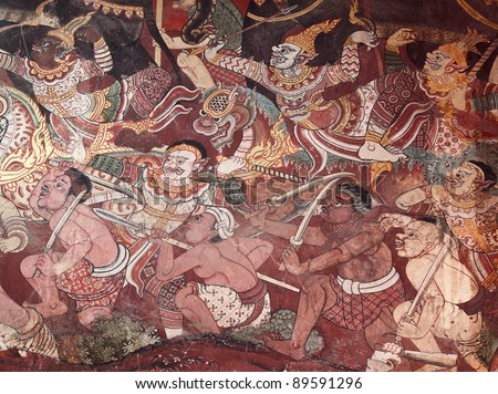 Ancient Ramayana picture on the wall in Thai temple. This picture is over 200 year old in Wat Yai, Thailand.