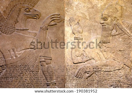 Ancient relief of Assyrian # 2 - stock photo