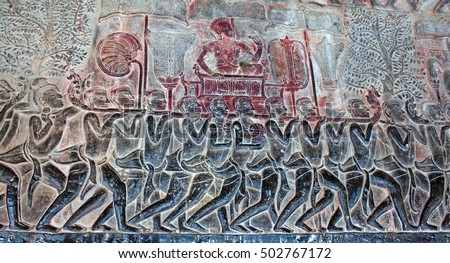 Ancient reliefs at the Angkor Wat Temple, Cambodia. Angkor Wat was built between 1113 and 1150 by King Suryavarman II.