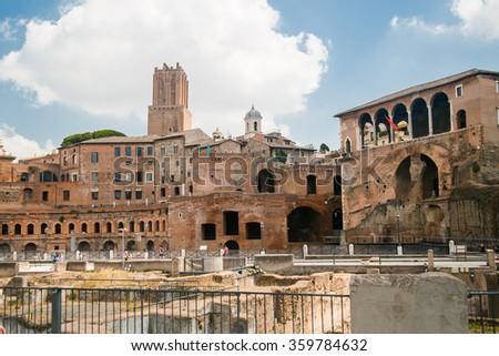 Ancient remains of the Trajan's Market Rome Italy - stock photo