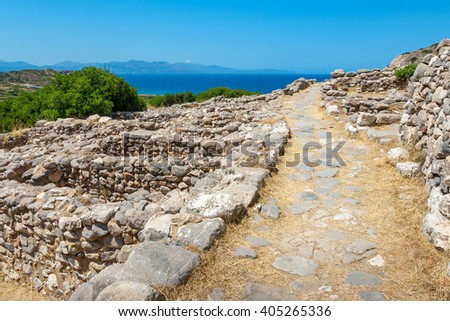 Ancient roadway in the ruins of a Minoan settlement Gournia. Crete, Greece - stock photo