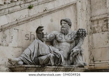Ancient Roman allegory of Nile River. Campidoglio, Rome, Italy - stock photo