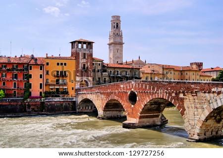 Ancient Roman bridge in Verona, Italy, Ponte di Pietra - stock photo