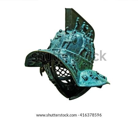 Ancient Roman bronze gladiator's helmet isolated on white background - stock photo