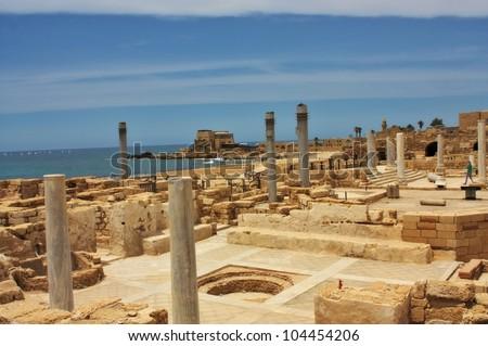 Ancient Roman city of Caesarea, Israel - stock photo