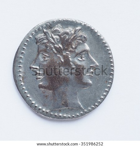 Ancient Roman coin from the Roman Empire - stock photo