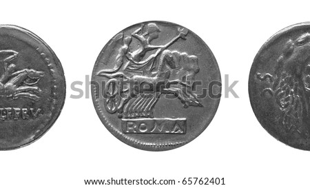 Ancient Roman coin isolated over white background - (16:9 black and white)